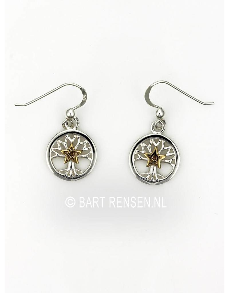 Levensboom Pentagram Oorhangers - echt zilver