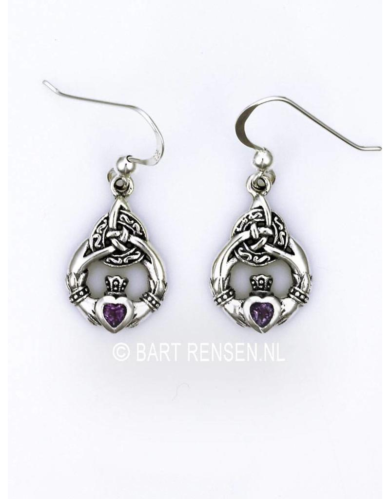 Claddagh earrings with stone - sterling silver