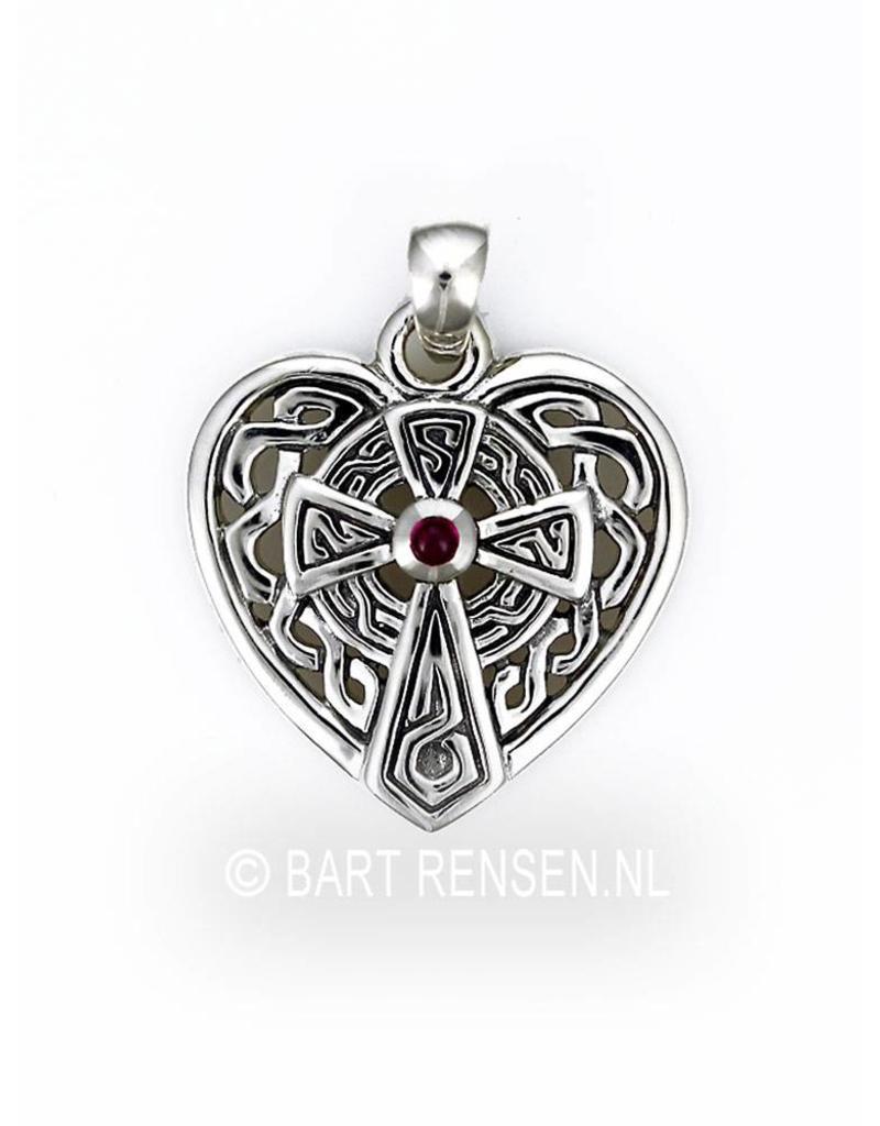 Celtic Cross Heart pendant - sterling silver