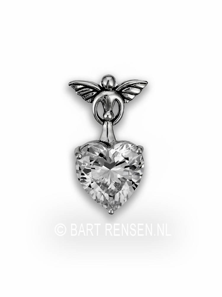 Angel heart pendant silver angel pendant with zirconia heart sterling silver aloadofball Choice Image