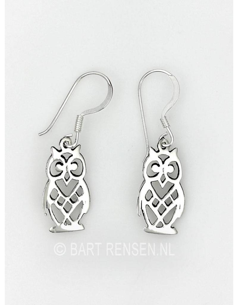 Owl earrings - sterling silver