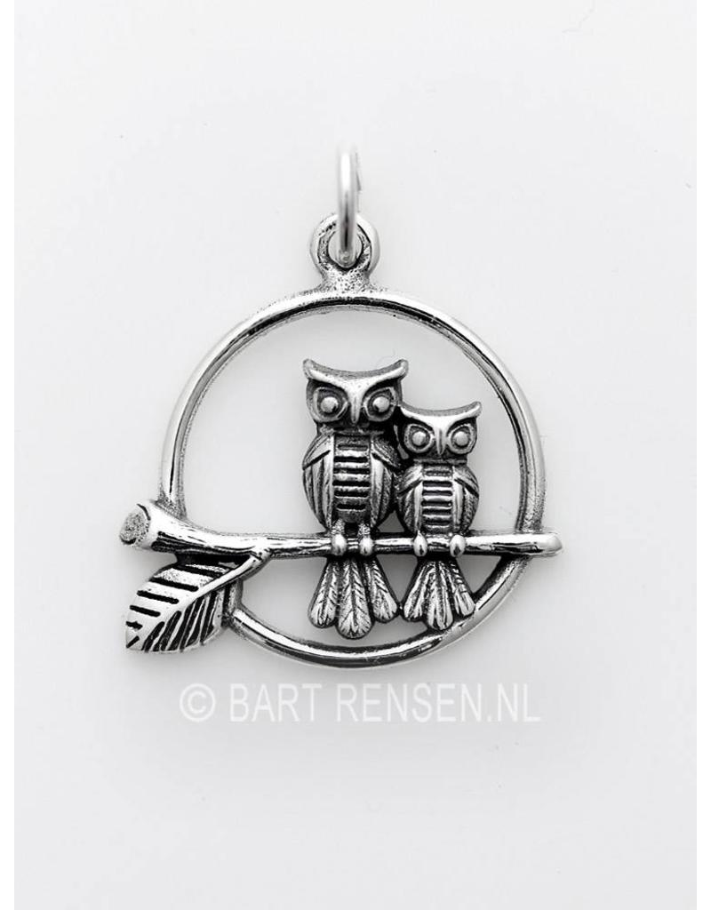 Owls pendant - sterling silver