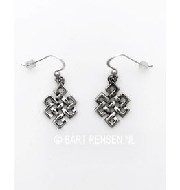 Tibetan Knot ear-pendant - silver
