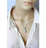 Engel hanger met zirconia hart - echt zilver