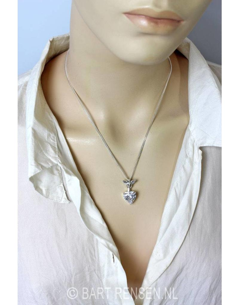 Angel pendant with zirconia heart - sterling silver