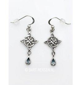 Zilveren Keltisch Kruis Oorhangers