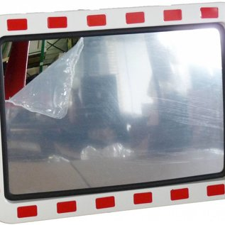 Traffic mirror 600 x 800 mm red/white