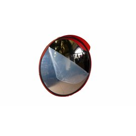 Mirror universal Round 400 mm red frame