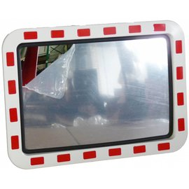 Traffic mirror 800x1000 mm red/white