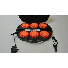 Koffer met 6 oranje oplaadbare rotorlichten