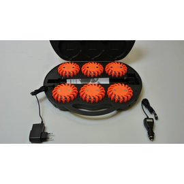 Valise avec 6 rotorlights orange - LED (rechargable)