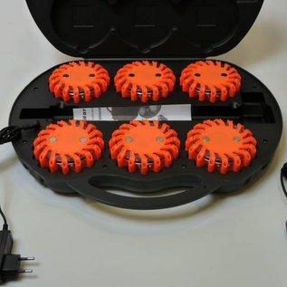 Coffre avec 6 rotorlights orange rechargeable - magnétique