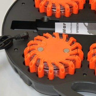 Koffer met 6 oranje rotorlichten - LED (oplaadbaar)