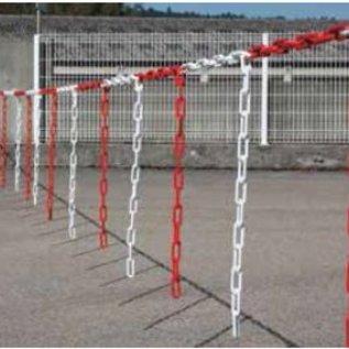 Barrière de chaîne 5 m x Ø 6mm avec morceaux de chaîne Rouge/Blanc