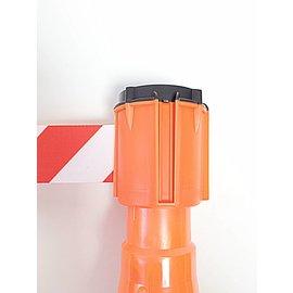 Haspel + houder met afzetlint voor verkeerskegels, 3 m x 50 mm, Rood Wit.