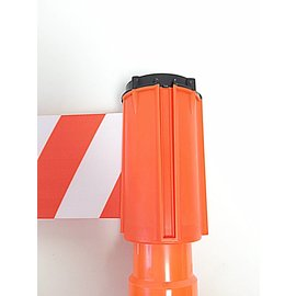 Retractable barrier tape for traffic cones, 3 m x 100 mm Red White.