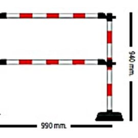 "Extra meter ""Express"" barrier - 2 crossbars Red / White"