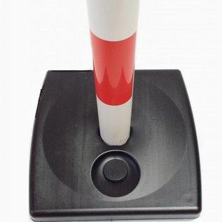 Kettingpaal in PVC, 90 cm, rood / wit met opvulbare voet 4 kg.