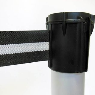 Aluminum post with belt color black / silver 3 m.