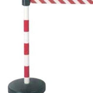 Paal in PVC met haspel en lint 3 m x 50 mm rood / wit - Opvulbaar voetstuk 9 kg.