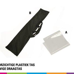 Beachvlag straight 460 x 85 cm. Doek en mast uit aluminium 25 mm (prijs voor 4 stuks)