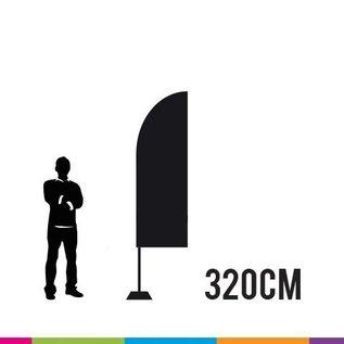 Beachvlag straight 320 x 65 cm. Doek en mast uit aluminium 25 mm (prijs voor 4 stuks)