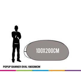 Popup banner ovaal 100 x 200 cm Prijs voor 4 stuks