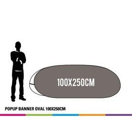 Popup banner ovaal 100 x 250 cm Prijs voor 4 stuks