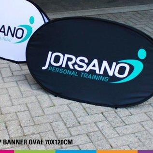 Popup banner ovaal 70 x 120 cm Prijs voor 4 stuks
