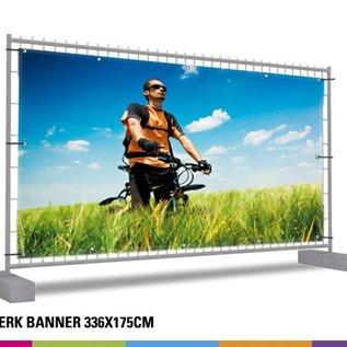 Hekwerk banner volledig: 336 x 175cm (volledig afgedekt)