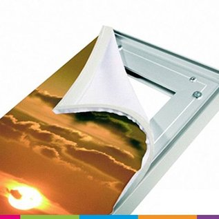 Textielframe op maat: Heavy frame 27mm + éénzijdig doek bedrukt (prijseenheid per lm)