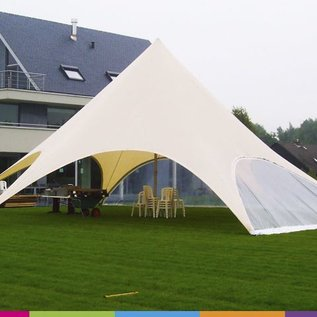 Zijwand Startent - Panoramavenster - Warm grey - ST60 (16M)- KR (Velcro)