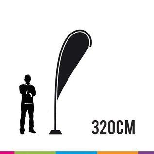 Beachvlag drop 320 cm + mast onbreekbaar fiber (prijs 4 stuks)