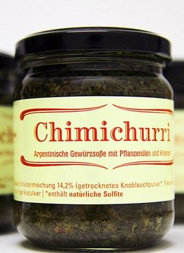 Chimichurri argentinian sausage with vegetal oil and herbs