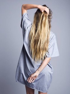 Volver Dress, 100% Cotton, light Blue, handmade, Volver
