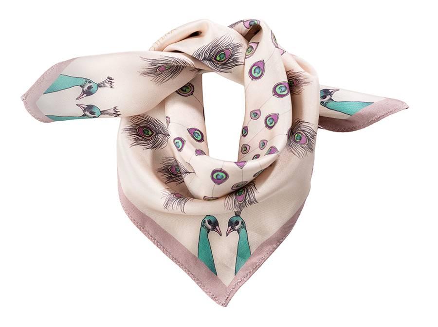Antilope Silk Scarf, Antilope, Pink Peacock