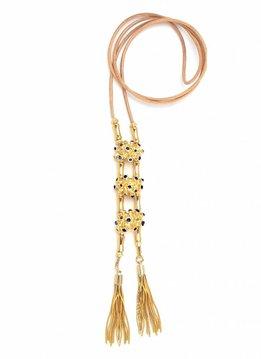 Pajaro Limon Leather Necklace, Pajaro Limon, Blue Gold