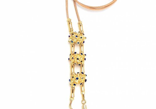 Pajaro Limon Leather Necklace, Pajaro Limon, Blue Gold