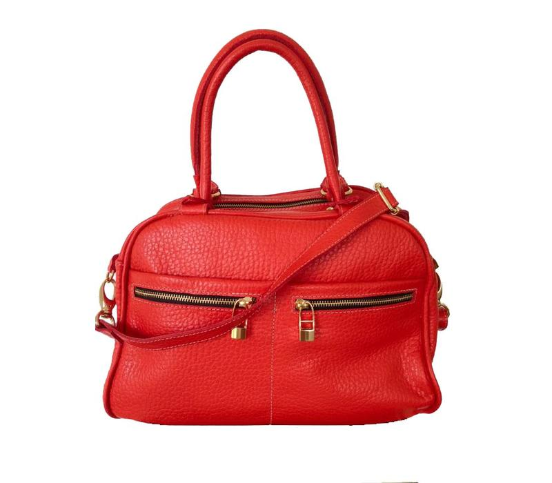 Leather bag, Red, Flavio Dolce