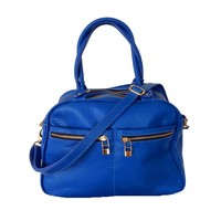 Leather bag, Blue, Flavio Dolce