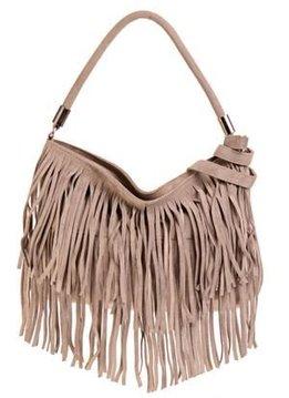 Leather bag with frays, nude, Prüne