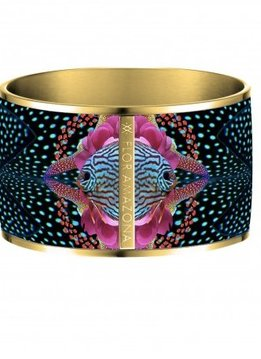 Flor Amazona Enamel Bangle Flor Amazona, Atlantic Manta, gold leaf 24kt