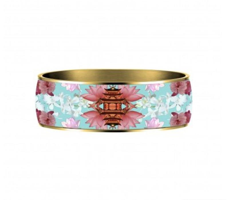 Enamel Bangle Flor Amazona, Samurai Dream, gold plated 24kt