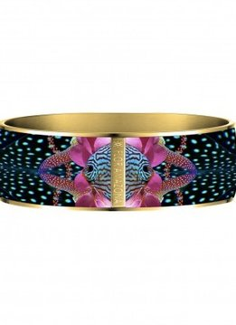 Flor Amazona Enamel Bangle Flor Amazona, Atlantic Manta, gold plated 24 Kt, 2,5cm
