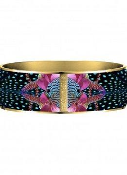 Flor Amazona Enamel Bangle Flor Amazona, Atlantic Manta, gold plated 24 Kt, 2,5cm