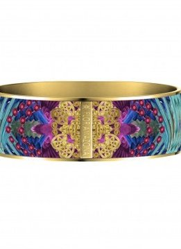 Flor Amazona Enamel Bangle Flor Amazona, Taganga flight, gold plated 24 Kt, 2,5cm