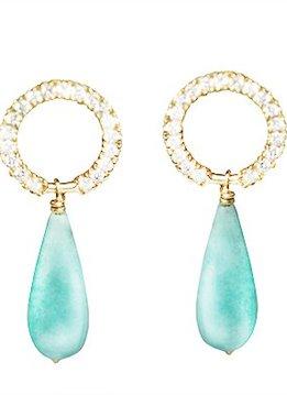 Haya Jewellery Haya Jewellery, Earrings, Diamants0,2ct and Amazonit