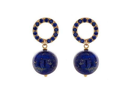 Haya Jewellery Earrings, Saphire Ceylon 2,5ct, Gelbgold 750, Lapislazuli