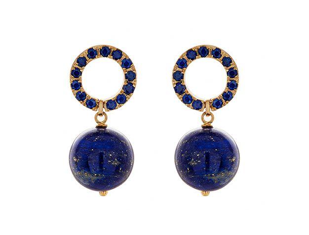 Haya Jewellery Earrings, Saphire Ceylon 2,5ct, Gelbgold 750, Lapislazuli