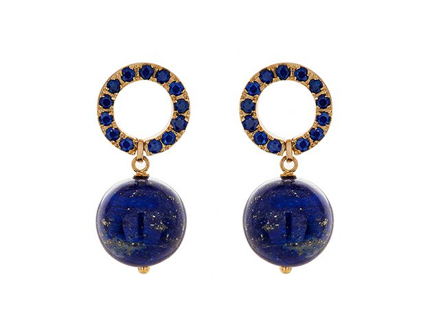 Haya Jewellery Ohrringe, Saphir Ceylon 2,5ct, Gelbgold 750, Lapislazuli